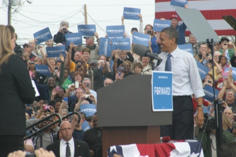President Obama takes the stage.