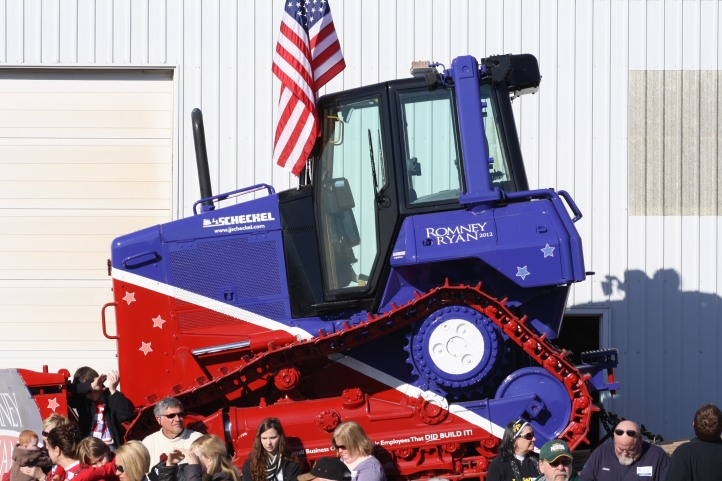 A tractor decorated for the Romney visit.
