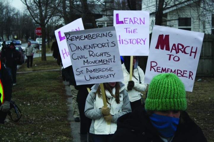 Ambrosians brave the cold temperatures during the silent march. Photo by Mary Schechinger.