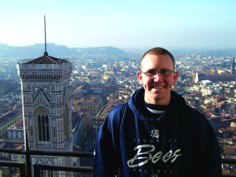 Standing at the top of the Duomo in Florence with a view of the city in the background. Photo submitted.
