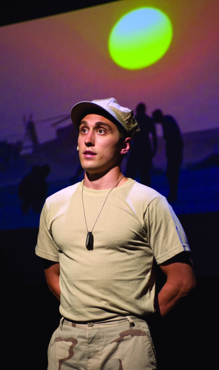 "Cameron Harms plays a soldier in ""Letters from Home."" Photo courtesy of SAU Galvin promotions."