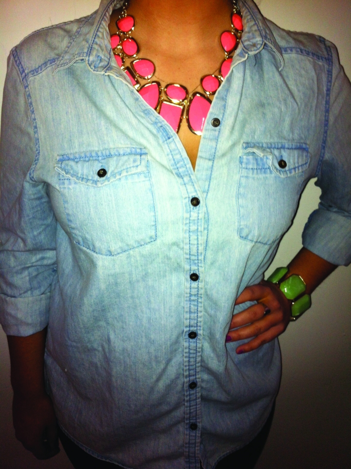 Denim shirts are in this spring. Photo by Alexandra Fulton.