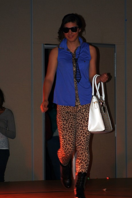 "Celeste Raya shows off a leopard print inspired spring outfit at the MACA fashion show ""Models and Music."" Brittany Krenzelak/The Buzz"
