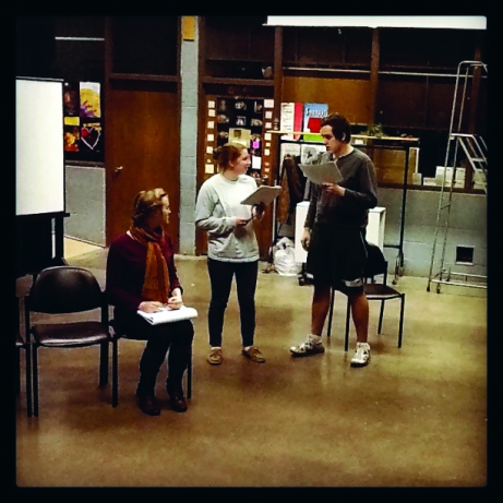 """Rachel Hohneke, Sophia Foreman and Conor Strandquist practice for """"No Exit."""" The Buzz/Submitted."""