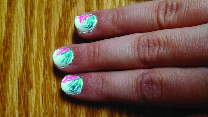 The nail design found on Pinterest can easily be done in a very short time. Rachel Pasker/The Buzz.