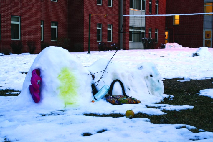 This snowman was made by Ambrose students to be funny, but what does it say about our Ambrose community? The Buzz/Submitted.