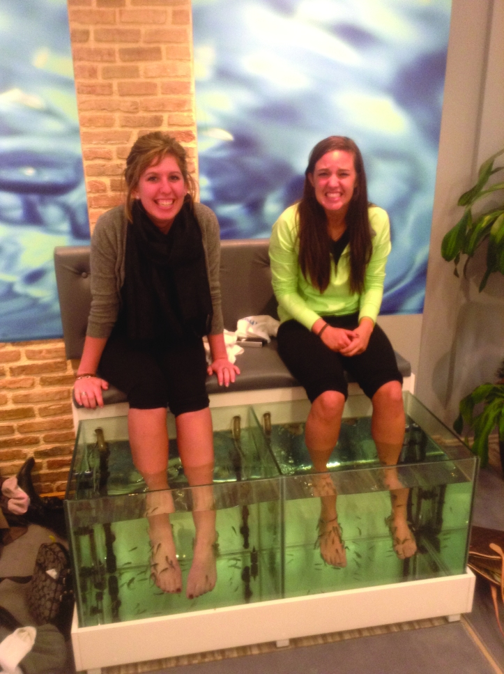 Emilee Renwick and Jessa Sherman at Doctor Fish in Greece. The spa is complete with a TripAdvisor stamp in the window. The Buzz/Submitted.