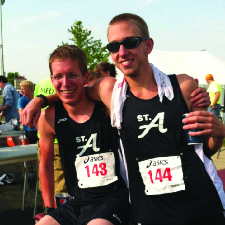 Pictured after qualifying for the Boston Marathon, Tyler Norby and Josh Sherwood completed the marathon at the NAIA Outdoor Track and Field National Championships. The Buzz/Submitted.