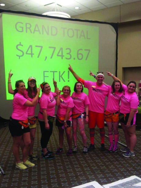 The Dance Marathon executive board members proudly point to their fundraising total. The Buzz/Submitted.