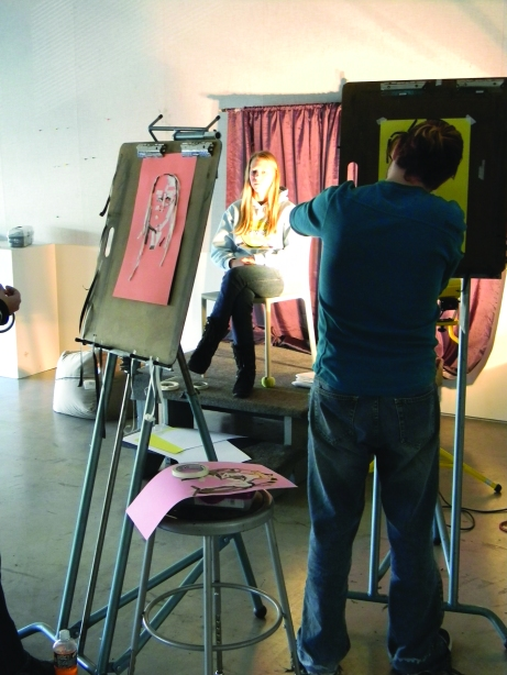 Students in Kristen Quinn's life drawing class work in studio space at the Figge Art Museum. The Buzz/Submitted.