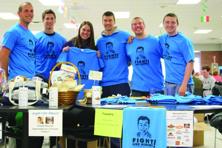 """Fight Like Albert"" shirts were sold in Cosgrove Cafeteria prior to the volleyball game. Ambrosians helping with the T-shirt sales include: Dan Dierking, Ryan Mahl, Lindsay Schaefer, Andy Katz, Ryan Kristensen and Nick Lynch."