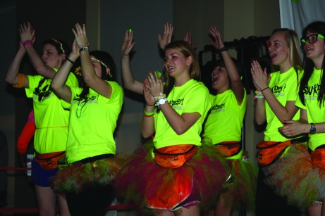 The SAU morale captains keep the dancers motivated. Brittany Krenzelak/The Buzz.
