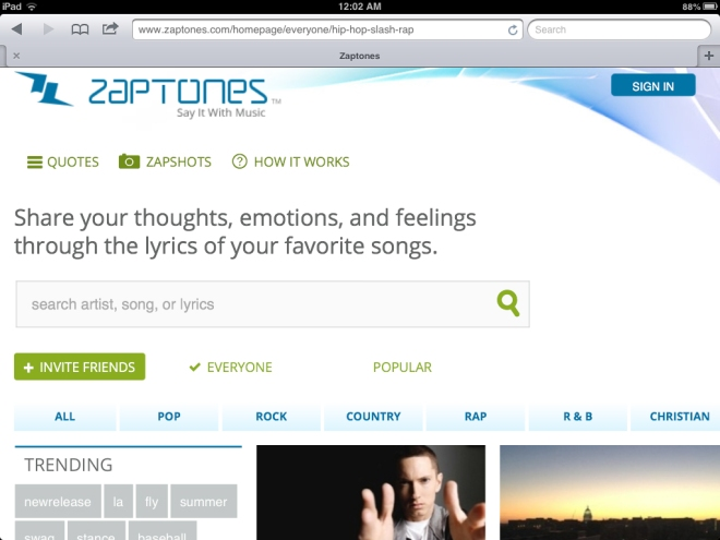 Zaptones is a social network that brings music and photo sharing together in one place. Emma Williams/The Buzz.