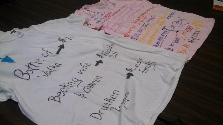Messages written on the t-shirts tell victim's stories. Rachel Pasker/The Buzz.