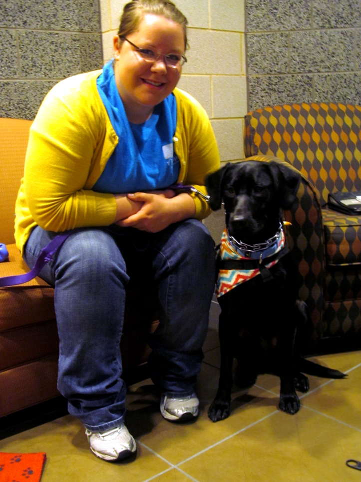 Allyson Smith brings her service dog, Lennon, with her everywhere on campus to ensure her blood sugar levels stay normal. Pat Kwiatkowski/The Buzz.