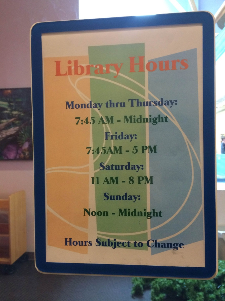 The new Saturday hours are posted throughout the library to inform students of the changes made for them. Tyler Mitchell/The Buzz.