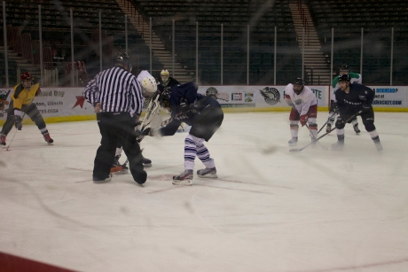 The hockey club plays in the Quad City Adult Hockey League. Kevin White/The Buzz.
